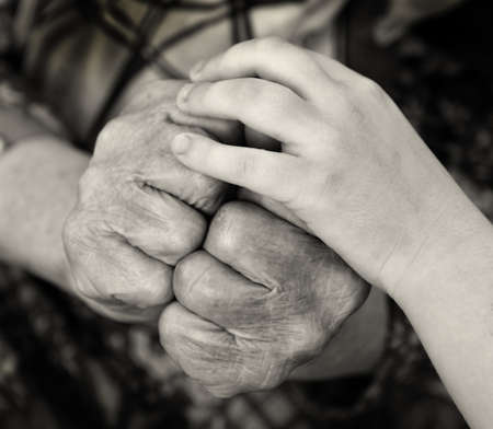 monocrome: Old and young hands