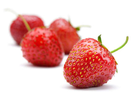 Strawberries. Detailed berries isolated on white background photo