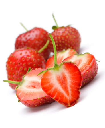 Section strawberries. Detailed cut strawberries isolated on white background photo