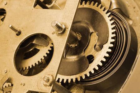 Mechanismthe old alarm clock. Photo closeup, selective focus photo