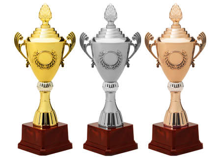 Sports Cup.Gold, silver and bronze. Isolated on white background Stock Photo - 13979158