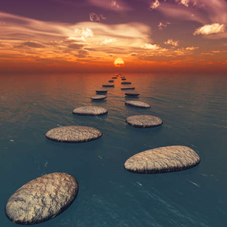 The stones in the water. The sunset. Square format images photo