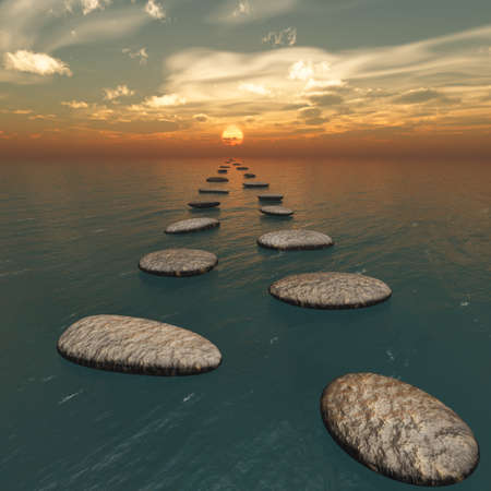 stepping: The stones in the water. The sunset. Square format images
