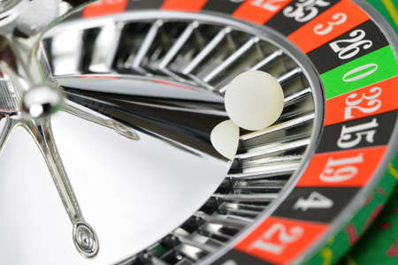 roulette: Roulette wheel in casino closeup. High detailed photo Stock Photo