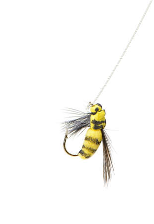 Fly fishing lure wasp isolated on a white background photo