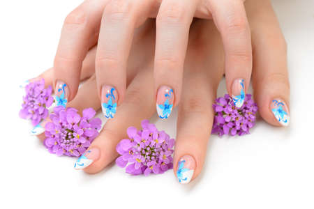 Nail art. Female nails with figure of petal blue color closeup and flower Stock Photo - 14508082