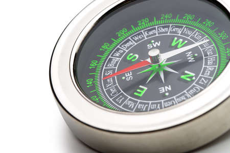 magnetic north: compass. Isolated on white background.Instrument that indicates magnetic north