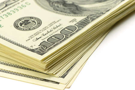 stacks of money: pack of dollars.Highly detailed picture of American money Stock Photo
