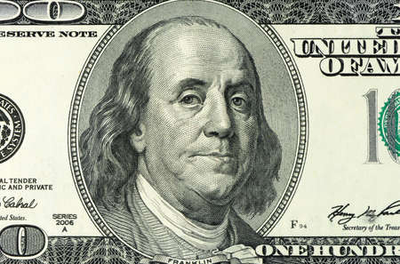 hundred dollar bill: Dollars closeup.Highly detailed picture of American money