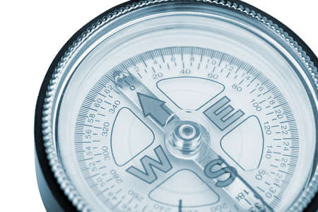 compass closeup blue toned. Instrument that indicates magnetic north Stock Photo - 14990328