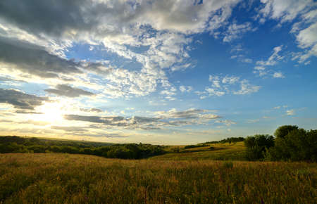 The landscape of the field with a spectacular sky. High Dynamic Range photo photo