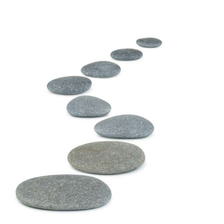 Row pebbles. Sea stones. It is isolated on a white background photo