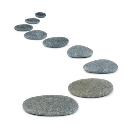 Row Kieselsteinen. Sea Steine. Es basiert auf einem weißen Hintergrund Standard-Bild