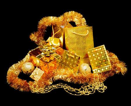 gold chain: Set gold gift box. On black background