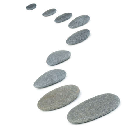 stepping: Row pebbles. Sea stones. It is isolated on a white background
