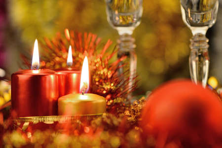 Festive decorations with candles. The color red photo