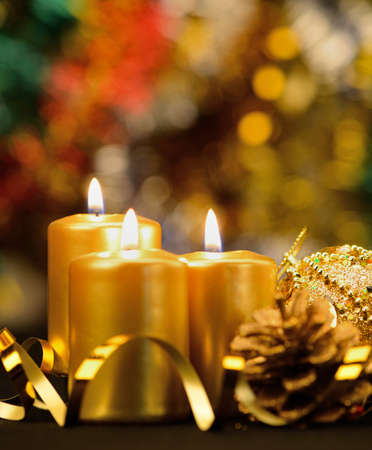 candle lights: Christmas objects of decoration. Candles, ribbons, gifts