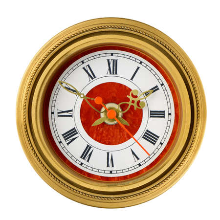 Dial of analog watch gold ornament. It is isolated on a white background photo