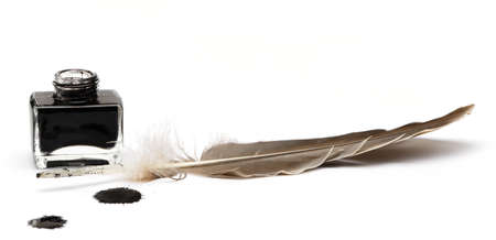 Feather pen set of abstract colour. Isolated on a white background. photo