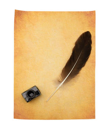 ink well: Feather pen on the old yellowed paper. Isolated on a white background. Stock Photo