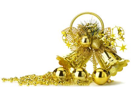 handbell: gold christmas handbell. Isolated on white background