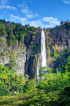 sri: The waterfall. The waterfall with the mountains in the country of Sri Lanka Stock Photo