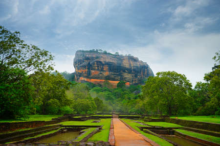 Sigiriya. Lions rock. Place with a large stone and ancient rock fortress and palace ruin. Sri Lanka