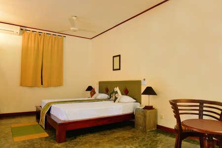 A room in a hotel. The tropical island of Sri Lanka