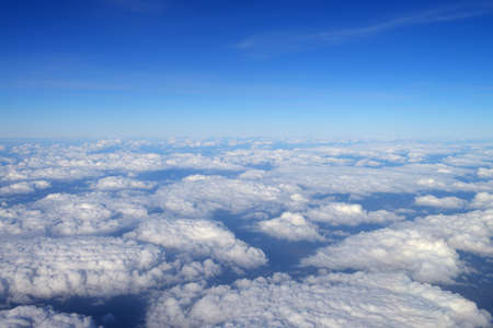 Sky with clouds. view from an airplane Stock Photo
