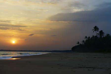 Sunset on ocean coast. Beautiful shores of the Indian ocean