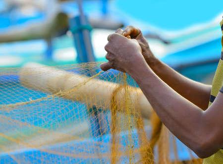 india fisherman: Fisherman sets of fishing gear. Fragment photo