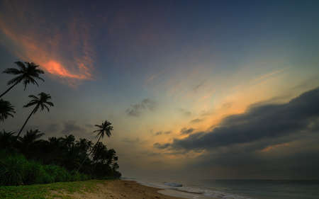 evening sky over the ocean. The coast of the Indian ocean. The Island Of Sri Lanka Stock Photo - 17719066