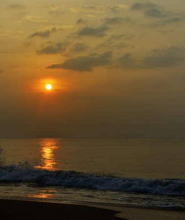 Sunrise over the ocean. The coast of the Indian ocean. The Island Of Sri Lanka