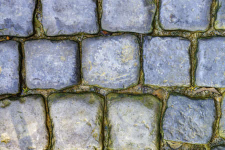 cobbled road closeup. High detailed photo fragment road