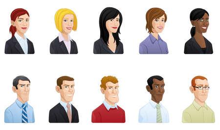 Glückliche Geschäftsleute Avataraikonen - Illustration Standard-Bild - 88040164