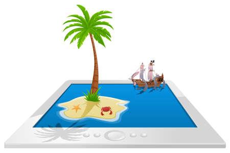 E-reader - sea monster attack - Illustration