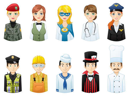 Various people professions Avatars icons set