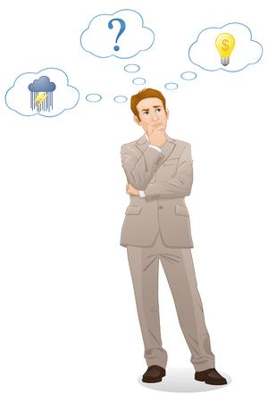 Businessman thinking - cartoon style - Illustration