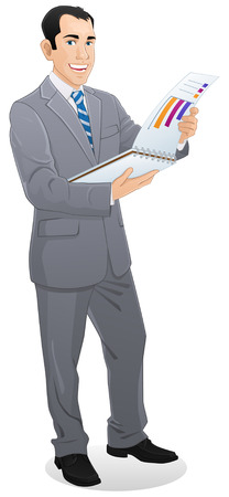 businessman standing with corporate data catalog