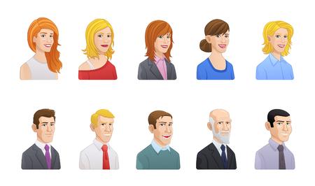 Cartoon style vector business people avatars