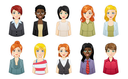 illustration of businesswoman avatar icons set Ilustracja