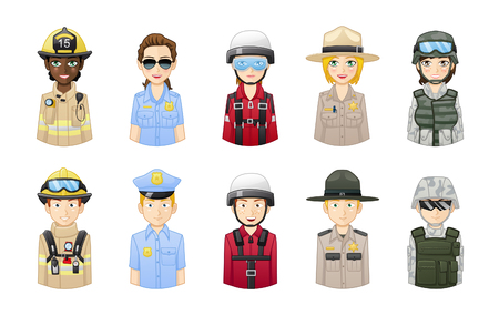 Rescue and safety professionals - People avatars set Иллюстрация