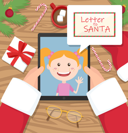 Santa claus is holding a tablet and having a conversation with a young girl Vector Illustration