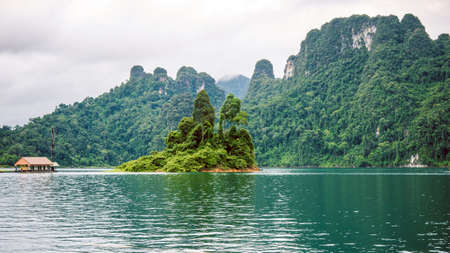 Cheo Lan Lake in Khao Sok, Suratani, Thailand. Rainy Clouds. Low Season Stock Photo