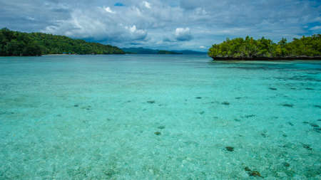 Beautiful Blue Lagoone near Kordiris Homestay, Gam Island, West Papuan, Raja Ampat, Indonesia. Stock Photo