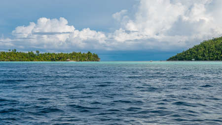 pristine corals: Strait between Kri and Monsuar Island. Raja Ampat, Indonesia, West Papua. Stock Photo