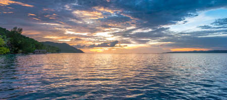 Sunset Sky over Kri and Monsuar, West Papuan, Raja Ampat, Indonesia. Banner