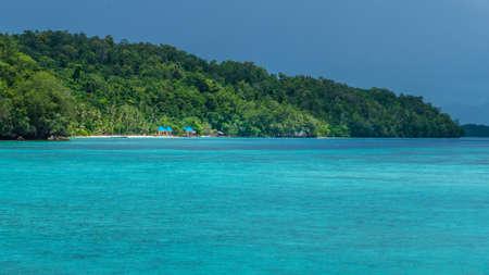 Beautiful Blue Lagoone shortly before Thunderstorm, near Kordiris Homestay, Gam Island, West Papuan, Raja Ampat, Indonesia.