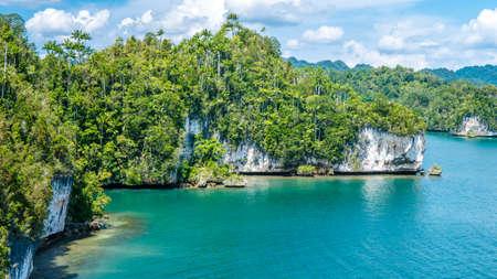 Rocks Landscape in Kabui Bay near Waigeo. West Papuan, Raja Ampat, Indonesia. Stock Photo