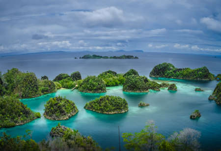 Painemo Islands, Blue Lagoon with Green Rockes, Raja Ampat, West Papua, Indonesia